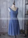 V-neck Chiffon Ruched Popular Knee-length Bridesmaid Dress #JCD01012881
