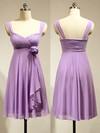 Cute Empire Chiffon Flower(s) Lavender Short/Mini Bridesmaid Dress #JCD01012883
