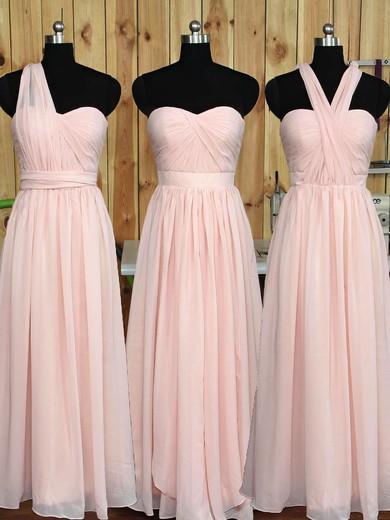 Great Sweetheart Chiffon Ruffles Floor-length Pink Bridesmaid Dress #JCD01012890