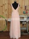 V-neck Floor-length Ruched Chiffon Pink Backless Bridesmaid Dress #JCD01012891