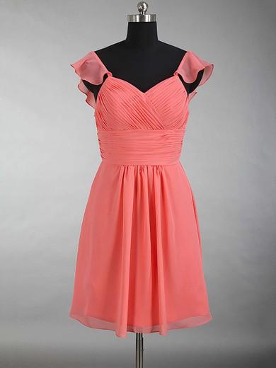 V-neck Chiffon Ruffles Beautiful Watermelon Short/Mini Bridesmaid Dress #JCD01012897