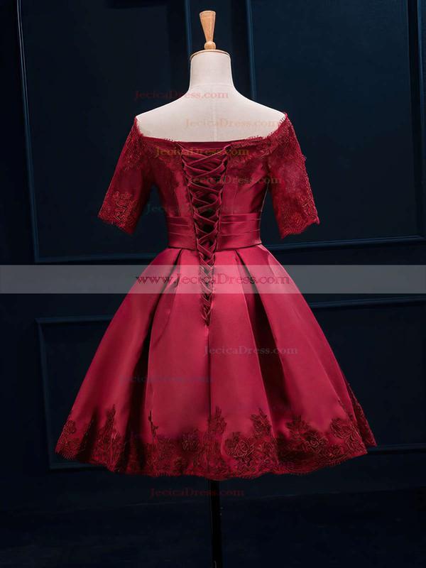 Burgundy Off-the-shoulder Satin Short/Mini Appliques Lace 1/2 Sleeve Prom Dresses #JCD020102397