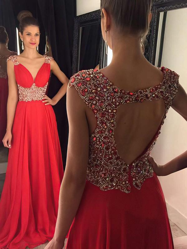 V-neck Red Chiffon Sweep Train Beading Open Back Prom Dresses #JCD020102404