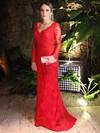 Beautiful Sheath/Column Sweep Train V-neck Red Lace Long Sleeve Prom Dresses #JCD020102408
