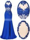 Trumpet/Mermaid High Neck Chiffon Tulle Split Front Open Back Prom Dresses #JCD020102412