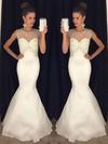 Trumpet/Mermaid Scoop Neck White Tulle Silk-like Satin Floor-length Beading Open Back Prom Dresses #JCD020102413