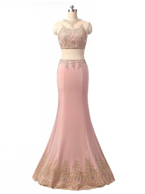 Two Piece Scoop Neck Tulle Silk-like Satin Floor-length Beading Trumpet/Mermaid Prom Dresses #JCD020102414