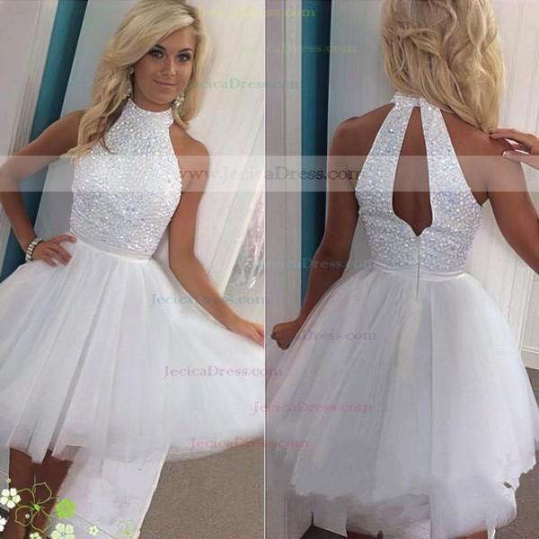 A-line High Neck Tulle Short/Mini Sashes / Ribbons Prom Dresses #JCD020102515