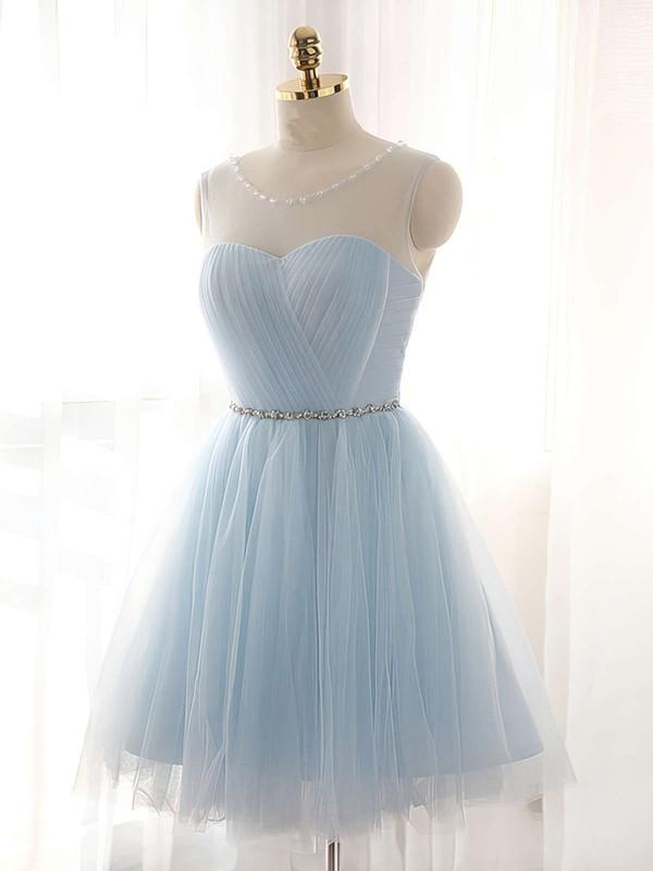 Pretty A-line Scoop Neck Tulle Short/Mini Beading Light Sky Blue Prom Dresses #JCD020102518