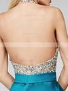 A-line Halter Backless Satin Short/Mini Beading Beautiful Prom Dresses #JCD020102519