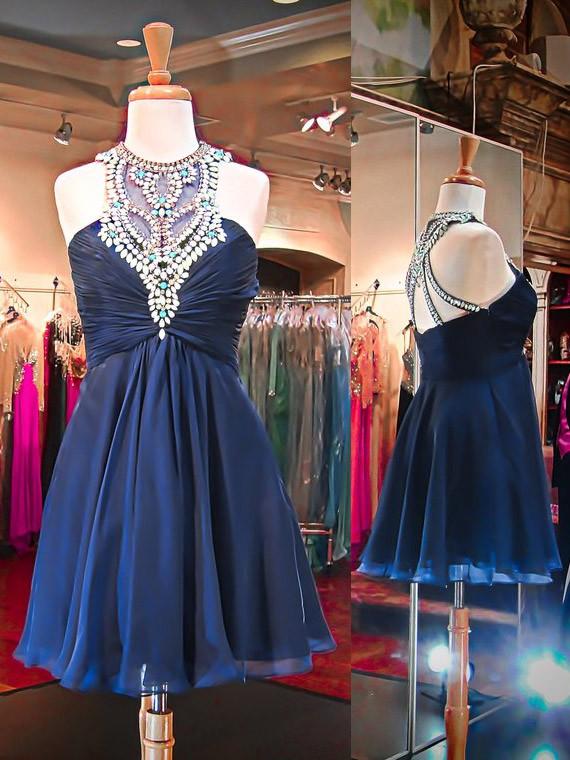 A-line Scoop Neck Chiffon Short/Mini Ruffles Affordable Prom Dresses #JCD020102522