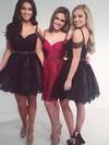 Wholesale A-line V-neck Lace Short/Mini Beading Black Prom Dresses #JCD020102523