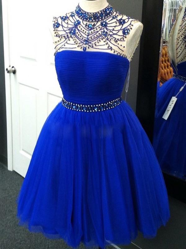 A-line High Neck Tulle Short/Mini Beading Prom Dresses #JCD020102524