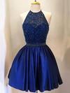 A-line Halter Elastic Woven Satin Short/Mini Beading Prom Dresses #JCD020102526
