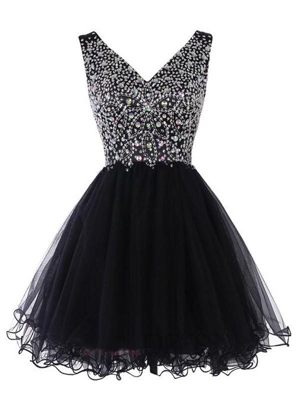 A-line V-neck Tulle Short/Mini Crystal Detailing Prom Dresses #JCD020102531