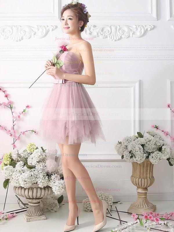 Top Princess One Shoulder Tulle Short/Mini Sashes / Ribbons Prom Dresses #JCD020102533