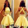 A-line Scoop Neck Silk-like Satin Short/Mini Tiered Backless Newest Prom Dress #JCD020102536