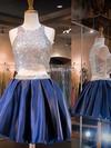 A-line Scoop Neck Satin Short/Mini Beading Prom Dresses #JCD020102543