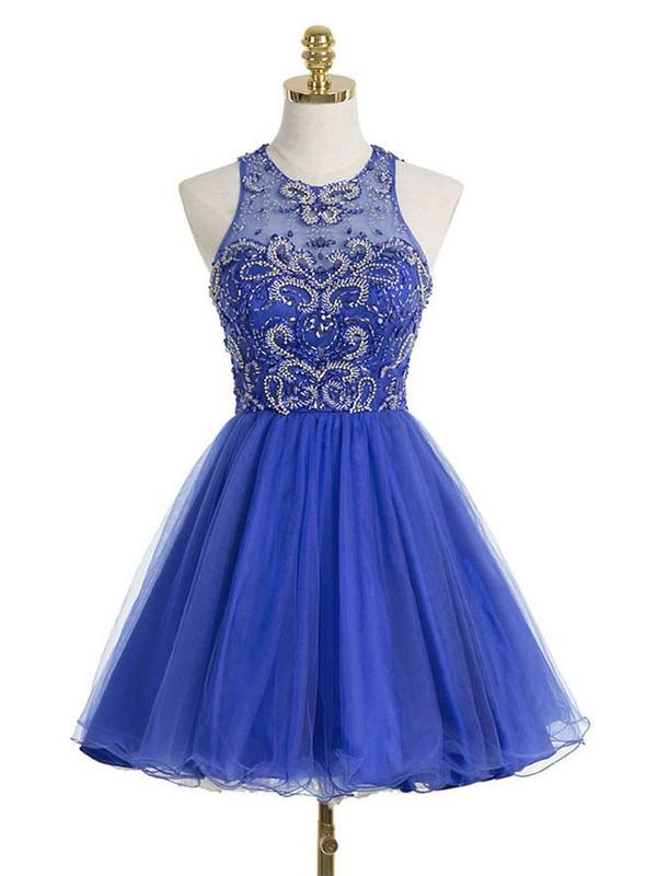 Royal Blue A-line Scoop Neck Tulle Short/Mini Beading Prom Dresses #JCD020102544