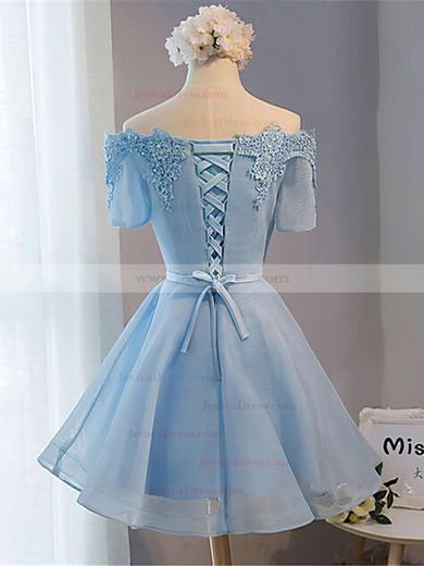 A-line Off-the-shoulder Satin Organza Short/Mini Sashes / Ribbons Prom Dresses #JCD020102547