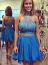 Two Piece A-line High Neck Chiffon Short/Mini Beading Fashion Prom Dresses #JCD020102548