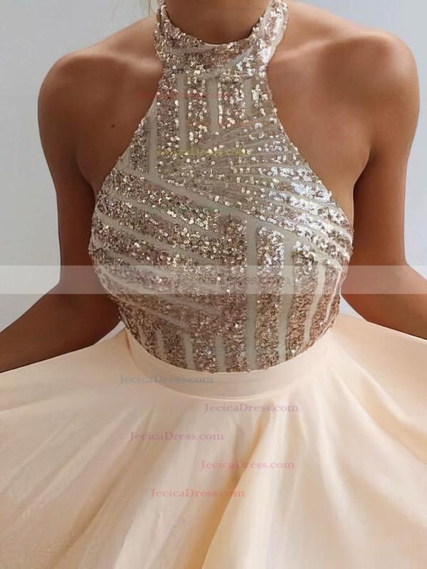 Summer A-line Halter Chiffon Short/Mini Sequins Backless Prom Dresses #JCD020102557