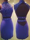 Open Back Sheath/Column High Neck Silk-like Satin Short/Mini Beading Two Piece Prom Dress #JCD020102558