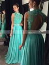 Graceful High Neck Tulle Chiffon Floor-length Beading Open Back Prom Dress #JCD020102443