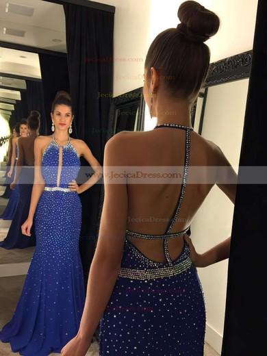 Backless Sheath/Column Scoop Neck Chiffon Sweep Train Beading Fashion Prom Dresses #JCD020102444