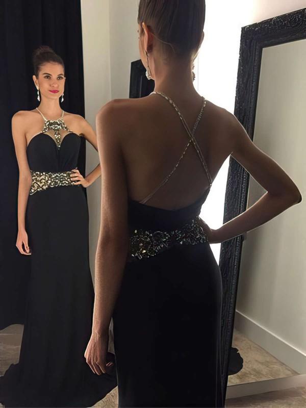 Backless Sheath/Column Halter Black Chiffon Sweep Train Beading Newest Prom Dresses #JCD020102451