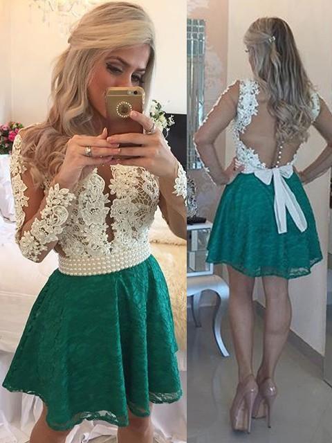 Short/Mini A-line Scoop Neck Lace Tulle Appliques Lace Long Sleeve Prom Dresses #JCD020102457