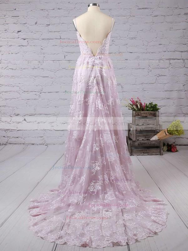 A-line V-neck Lace Court Train Lace Backless Modern Prom Dresses #JCD020102459