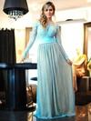 Off-the-shoulder A-line Lace Floor-length Appliques Lace Long Sleeve Prom Dresses #JCD020102460