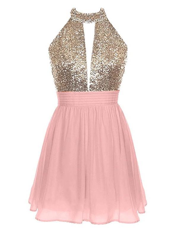 A-line Halter Pink Chiffon Sequined Short/Mini Ruffles Backless Prom Dress #JCD020102461