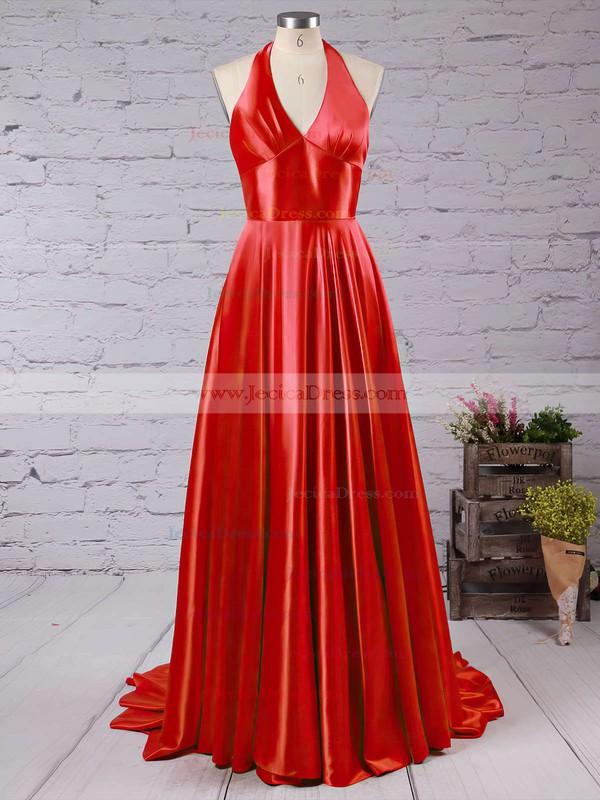 Affordable A-line V-neck Silk-like Satin Court Train Split Front Prom Dresses #JCD020102467