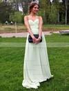 Chiffon A-line Sweetheart Floor-length Pleats Prom dresses #JCD02013378