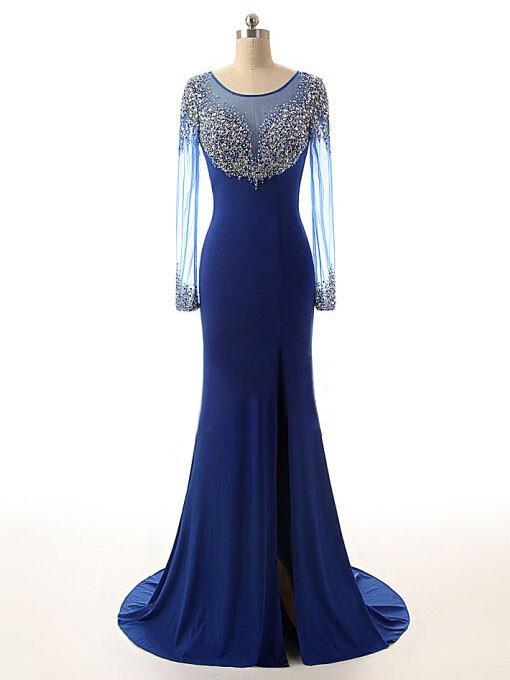 Scoop Neck Royal Blue Chiffon Tulle Sweep Train Beading Trumpet/Mermaid Long Sleeve Prom Dresses #JCD020102474