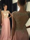 A-line Scoop Neck Chiffon Tulle Sweep Train Beading Elegant Prom Dresses #JCD020102477