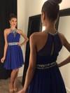 A-line Scoop Neck Chiffon Short/Mini Beading Cheap Royal Blue Prom Dresses #JCD020102478