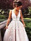 V-neck Tulle Floor-length Appliques Lace Princess Unique Prom Dresses #JCD020102479