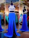 Two Piece Scoop Neck Chiffon Tulle Sweep Train Split Front Sheath/Column Prom Dresses #JCD020102481