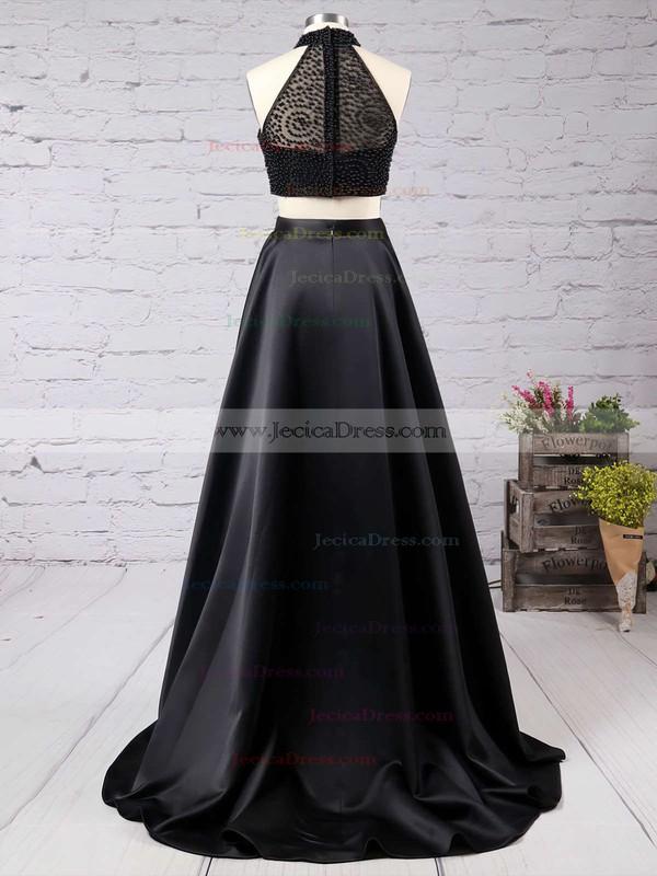 Elegant A-line High Neck Black Satin Tulle Sweep Train Split Front Two Piece Prom Dress #JCD020102482