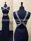 Sheath/Column V-neck Chiffon Sweep Train Beading Backless Black Prom Dresses #JCD020102488