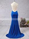 Trumpet/Mermaid Jersey Sweep Train Beading Royal Blue High Neck Prom Dresses #JCD020102490