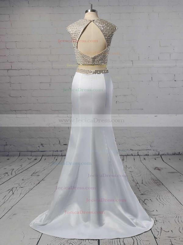 Trumpet/Mermaid V-neck Silk-like Satin Beading Sweep Train Two Piece Prom Dress #JCD020102497