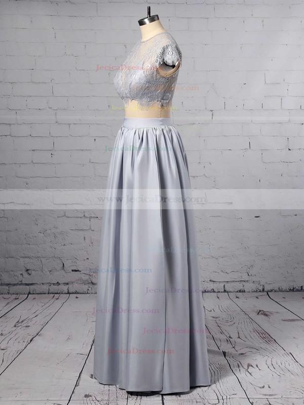Scoop Neck Sheath/Column Lace Chiffon Ankle-length Split Front Ladies Two Piece Prom Dress #JCD020102509