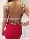 Black Scoop Neck Tulle Silk-like Satin Beading Sweep Train Trumpet/Mermaid Prom Dresses #JCD020102584