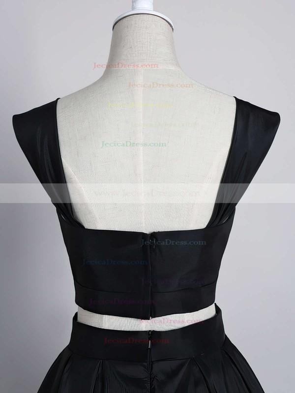 Dark Navy A-line Off-the-shoulder Satin Two Piece Tea-length Prom Dresses #JCD020102596