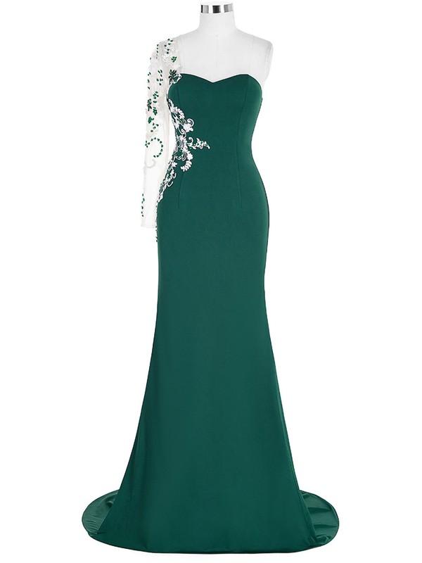 Trumpet/Mermaid One Shoulder Long Sleeve Chiffon Tulle Beading Sweep Train Prom Dress #JCD020102603