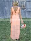 A-line Scoop Neck Chiffon Asymmetrical Appliques Lace Beautiful Bridesmaid Dresses #JCD01012899